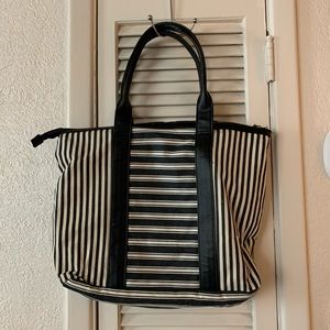 Black and White Striped zippered bag